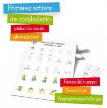 Pósteres activos de vocabulario - Partes del cuerpo- Emociones- Preposiciones de Lugar - 9788364730603