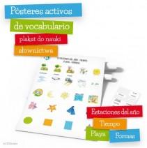 Pósteres activos de vocabulario - Estaciones del año - Tiempo - Playa - Formas - 9788364730658